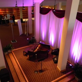Overhead view of lobby area with piano